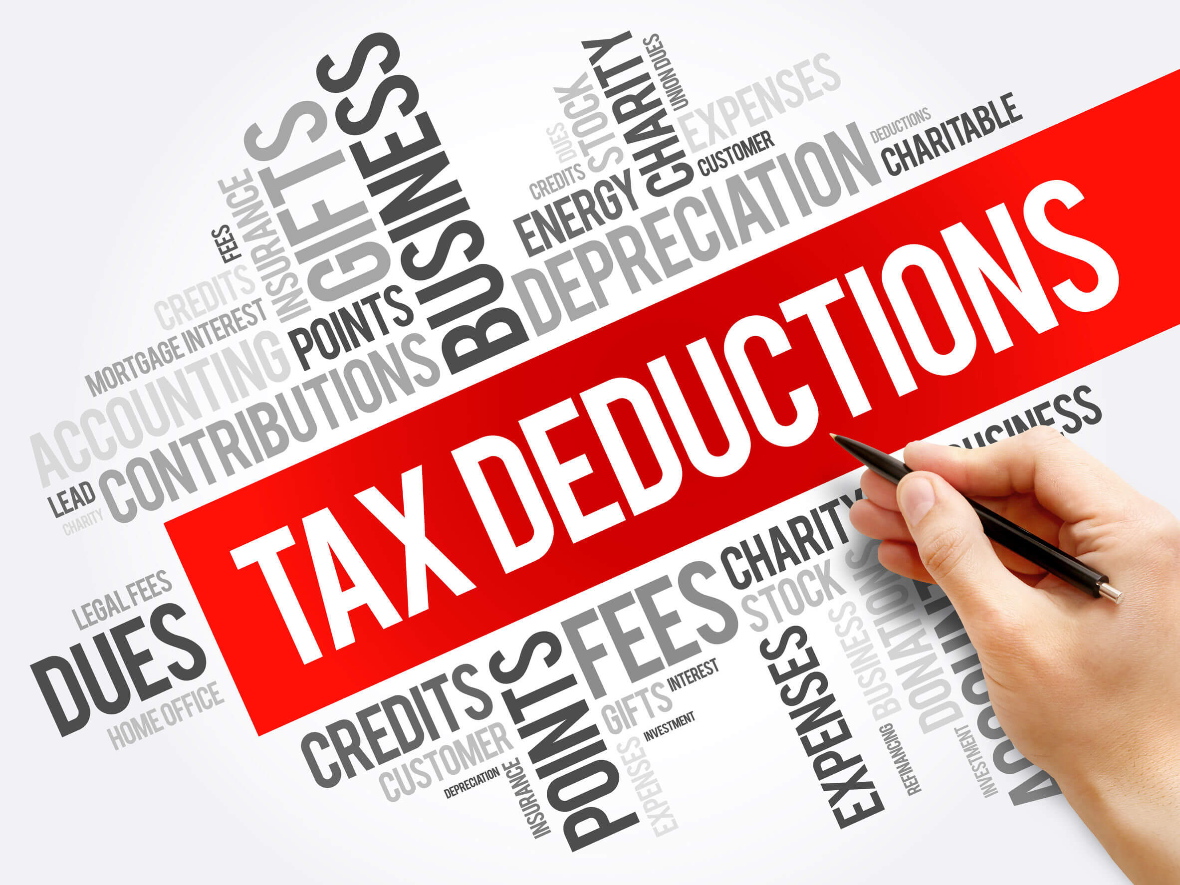 "Image of word cloud collage centered around ""tax deductions,"" representing how you can turn to Anna Price at Jenkins Fenstermaker, PLLC for advice on uses of charitable gifts and the limits on charitable giving."