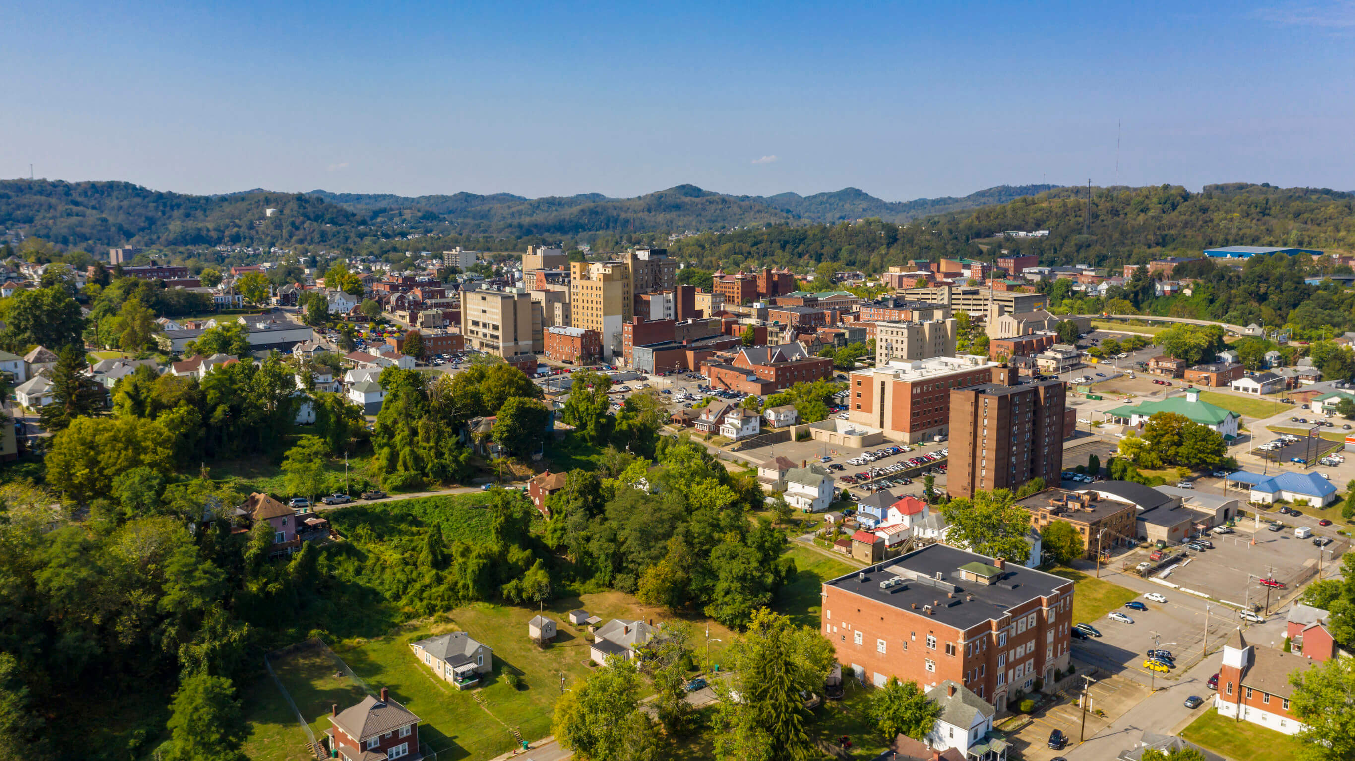 Image of downtown Clarksburg, WV, representing how Jenkins Fenstermaker's Alison J. Farrell helps individuals and businesses with WV commercial real estate closings.