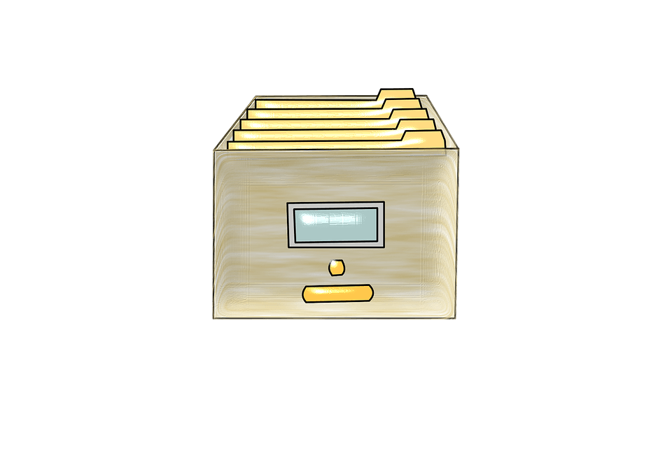 An image of a single file drawer, representing the need to decide where to keep estate planning documents in an accessible, secure way.