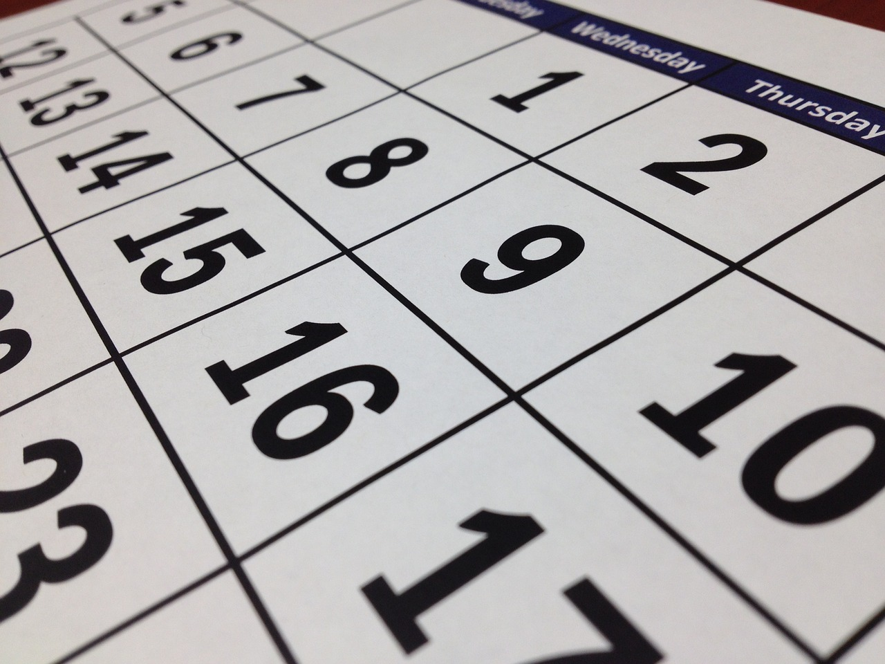 A close-up image of a calendar, representing the importance of consulting an attorney before the time frame for challenging a WV will has run if you feel a loved one's will is invalid or estate has been misallocated.