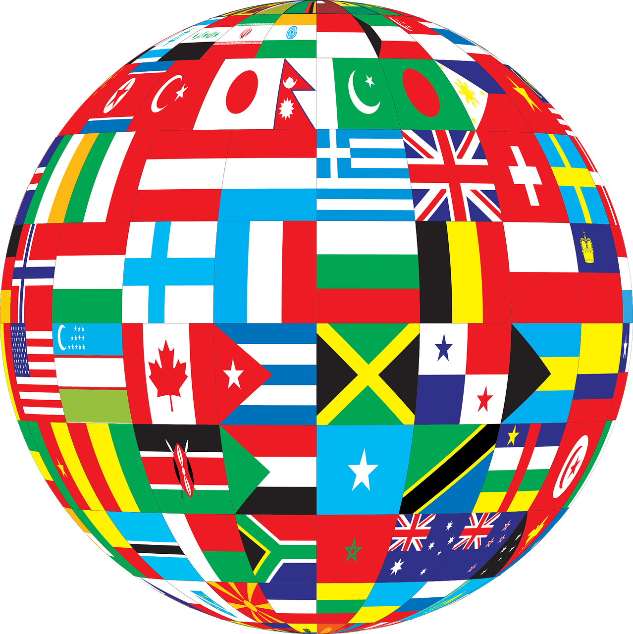 Image of globe plastered with flags of different nations suggesting that an international client needs expert international estate planning, and in West Virginia (WV) and Kentucky (KY), that attorney is Anna M. Price at Jenkins Fenstermaker, PLLC.