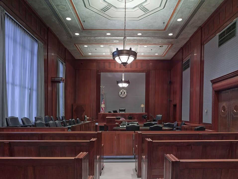 Image of a courtroom, representing one of the arenas where the tristate litigation attorneys at Jenkins Fenstermaker prevail in fighting for client rights in WV, KY, and OH.