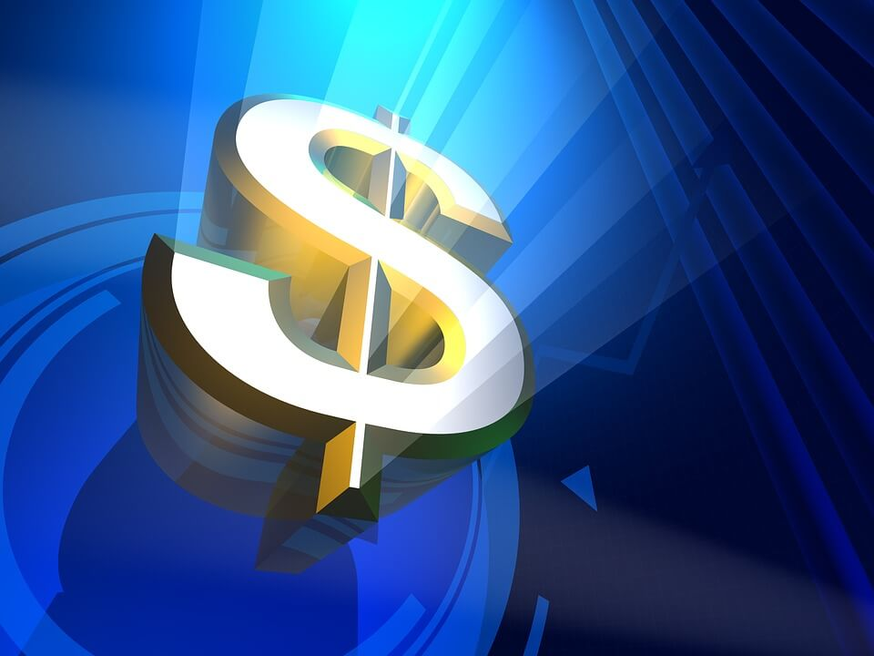 Image of a golden dollar sign on a blue background, signifying tips from an experienced WV business succession planning attorney about maximizing your company's value for sale.