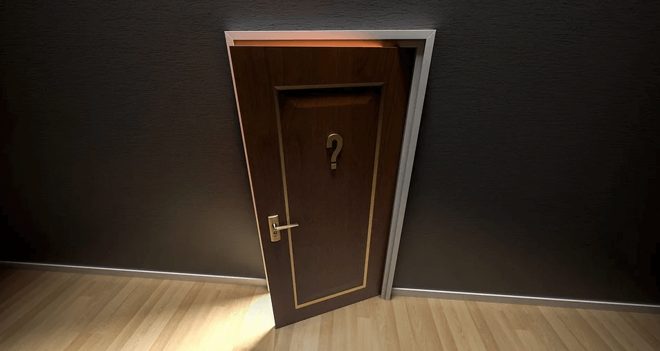 Image of a door with a question mark on it, representing uncertainty related to estate administration and probate in Kentucky and how Anna M. Price at Jenkins Fenstermaker fills the need for qualified Kentucky probate lawyers who can help.
