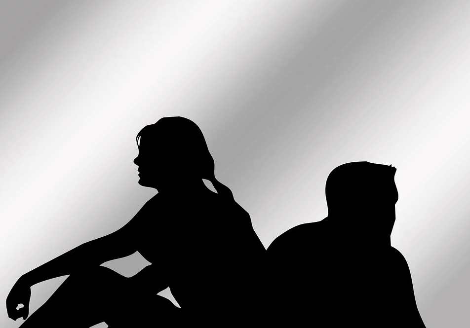 Image of a black and white silhouette of a man and woman facing away from each other with the implication they may be concerned about the validity of a will after divorce under West Virginia law. WV wills attorney Anna M. Price can help.
