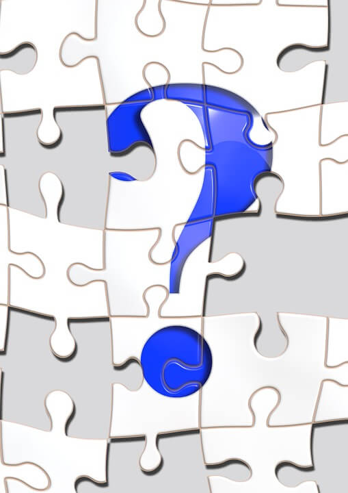 A picture of an incomplete puzzle with a large question mark in the center, representing how an experienced estate planning lawyer such as Anna M. Price can answer the questions about why everyone needs an estate plan.