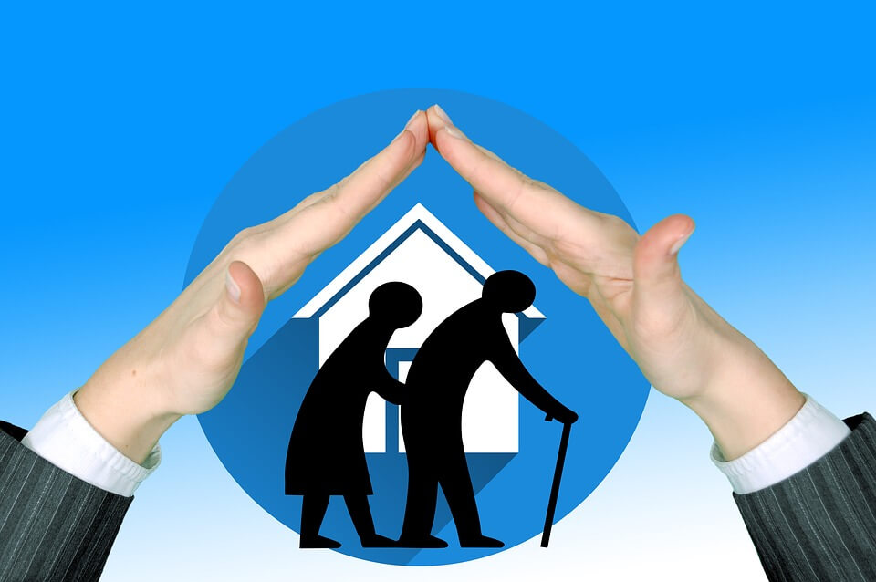 Image of two shadow cutouts walking hunched over, one with a cane, in front of the image of a house, representing the need for elder care and estate planning strategies that attorney Anna M. Price uses clients in WV, KY, and OH.