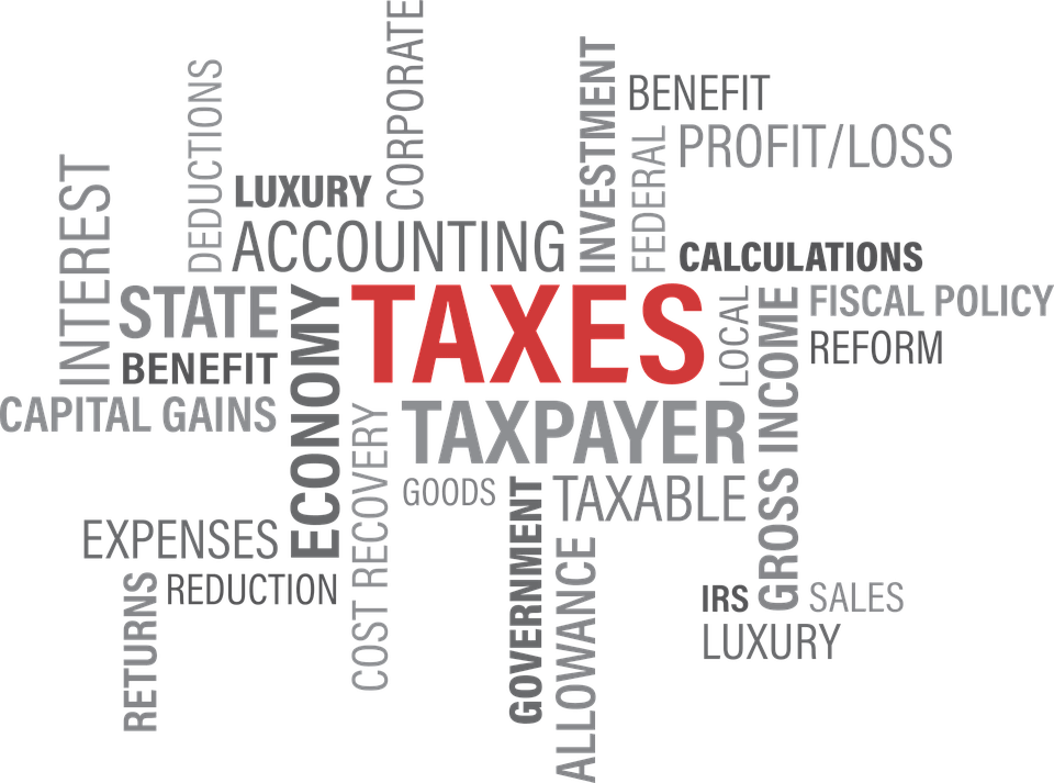 An image of a word cloud with the word taxes in red, representing an heir's responsibility to file a final tax return and pay estate taxes in WV.