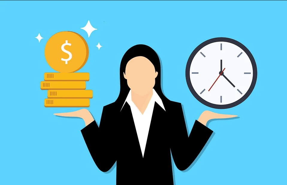 A figure of a woman holding coins in one hand and a clock in the other, representing charitable gift annuity pros and cons for balancing charitable gifts and lifetime income, as explained by attorney Anna M. Price.